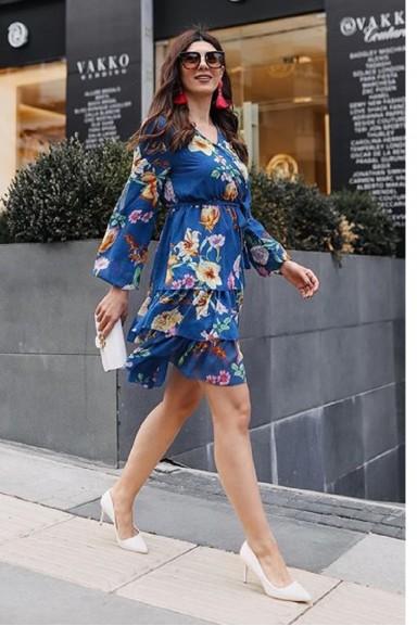 Fırfırlı Mavi Şifon Elbise