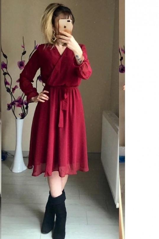 Kısa Düz Şifon Elbise Büyük Beden bordo