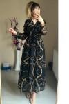 Zincir Desenli Şifon Elbise