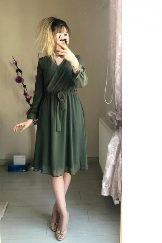 Kısa Düz Şifon Elbise Büyük Beden Haki