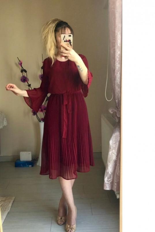 Kısa Bordo fırfırlı Şifon elbise