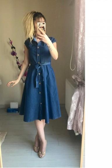 Kısa Kol Koyu Renk Kot Elbise