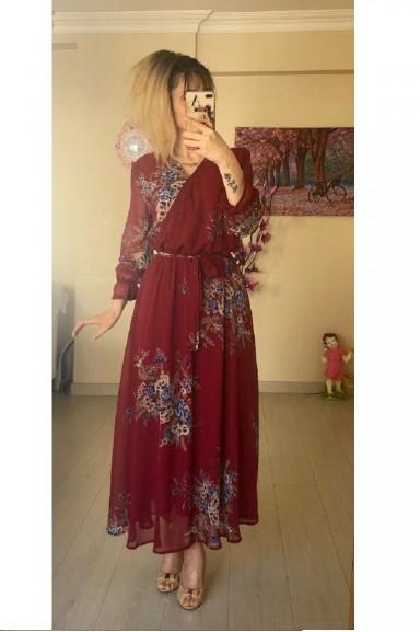Bordo Çiçekli Uzun Şifon Elbise