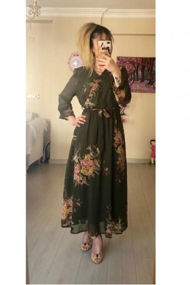 Haki Çiçekli Uzun Şifon Elbise