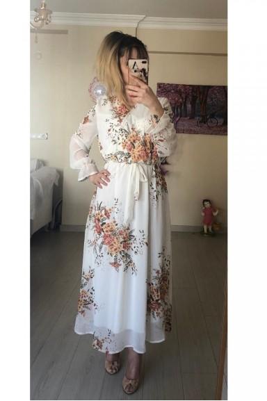 Beyaz Çiçekli Uzun Şifon Elbise