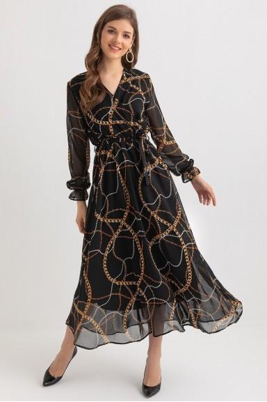 Uzun Zincir Desenli Şifon Elbise