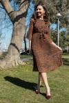 Şifon Leopar Elbise kahverengi