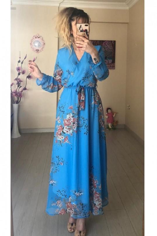 Mavi Çiçekli Uzun Şifon Elbise