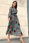 Uzun Gül Detaylı Şifon Elbise