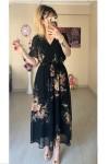 Kısa Kol Çiçekli Siyah Şifon Elbise