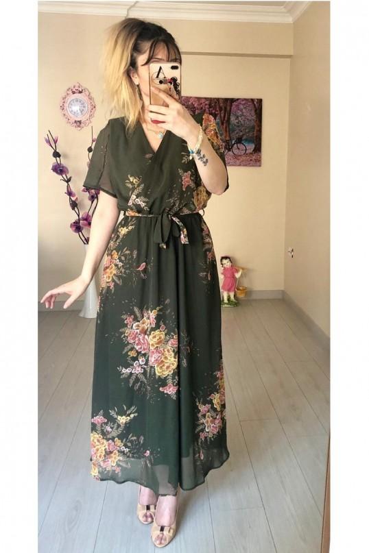 Kısa Kol Çiçekli Haki Şifon Elbise