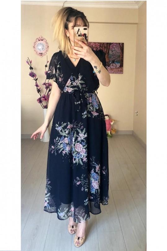 Kısa Kol Çiçekli Lacivert Şifon Elbise