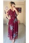 Kısa Kol Çiçekli Bordo Şifon Elbise