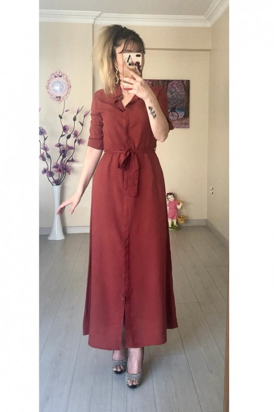 Düz Gömlek Elbise Kiremit