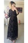 Çıtır Çiçekli Siyah Şifon Elbise