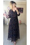 Çıtır Çiçekli Lacivert Şifon Elbise