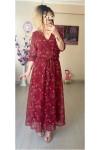 Çıtır Çiçekli Kımızı Şifon Elbise