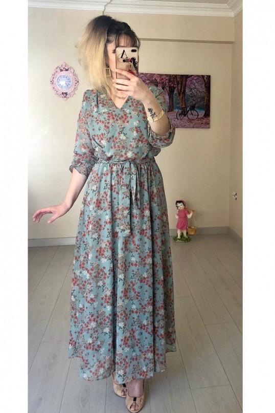 Çıtır Çiçekli Yeşil Şifon Elbise