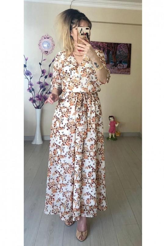 Çıtır Çiçekli Beyaz Şifon Elbise