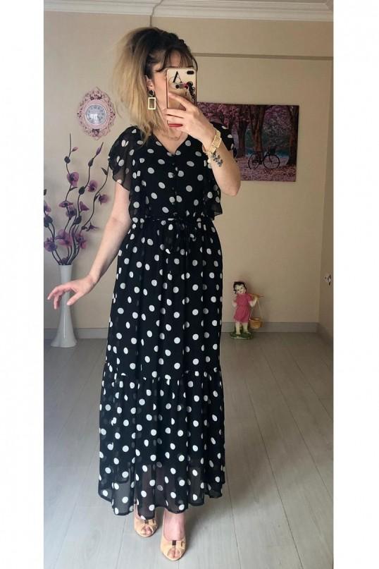 Punalı Kolu Fırfırlı Şifon Elbise Siyah