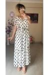 Punalı Kolu Fırfırlı Şifon Elbise Beyaz