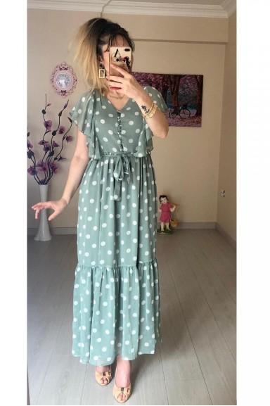 60d201d3d9910 Puanlı Kolu Fırfırlı Şifon Elbise Yeşil