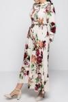 Çiçekli Boyundan Bağlamalı Elbise - Büyük Beden