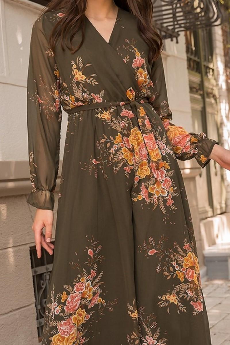 45a68c263ce32 Haki Çiçekli Uzun Şifon Elbise