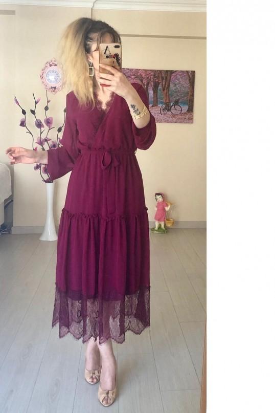 uzun kol etek ucu dantelli elbise - MÜRDÜM