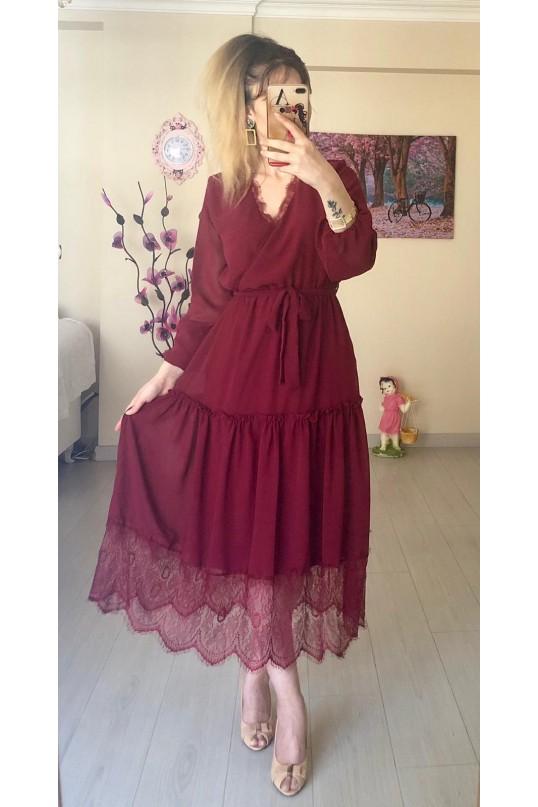 uzun kol etek ucu dantelli elbise - BORDO