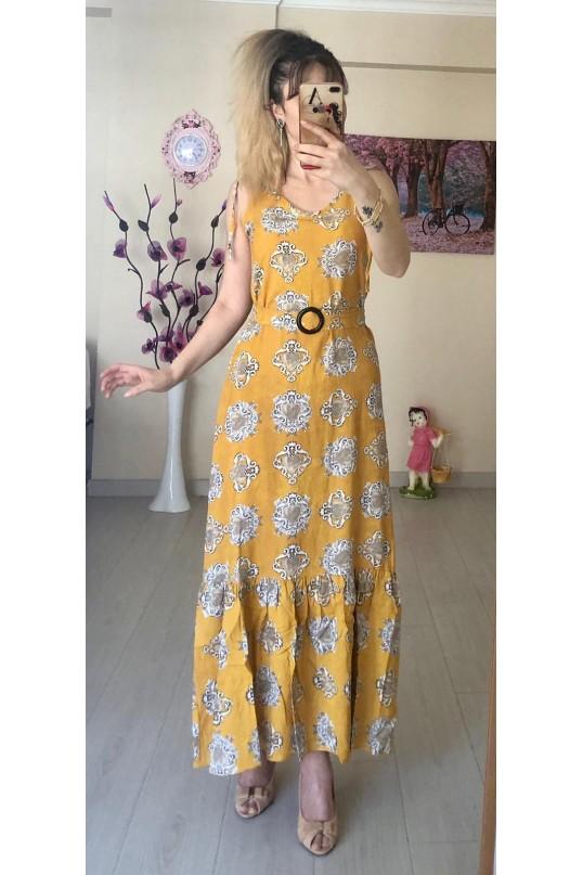 209b91ebd3c15 Sıfır kol Sarı Şal Desen Elbise