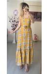 Sıfır kol Sarı Şal Desen Elbise