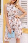 Çiçek Desen İnce Kuşak Elbise - EKRU