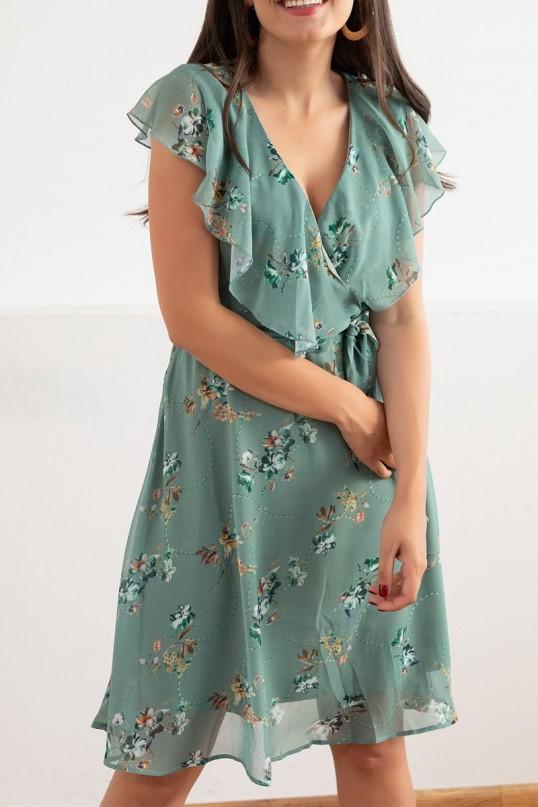 Yakası Fırfır Çiçek Desen Elbise - MİNT YEŞİL