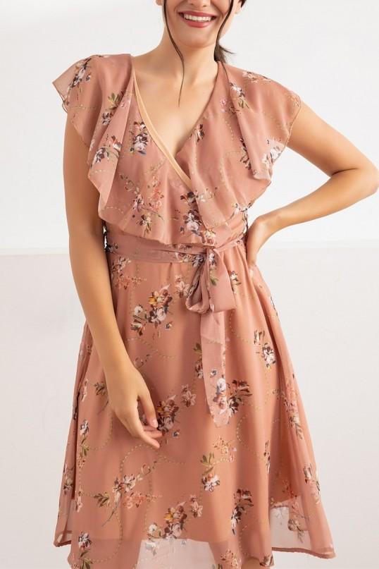Yakası Fırfır Çiçek Desen Elbise - KAHVERENGİ