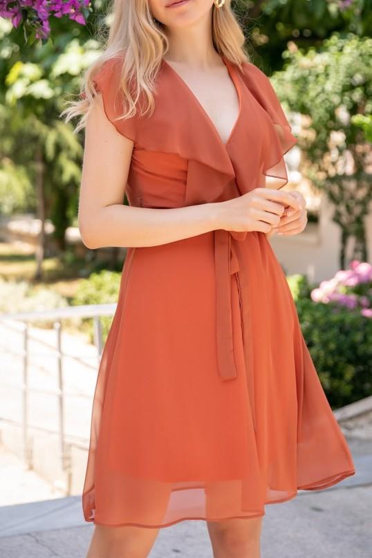 Fırfır Yaka Kuşaklı Şifon Elbise - KİREMİT