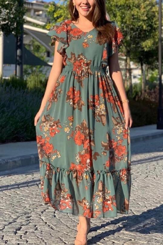 Kolları Fırfırlı Yeşil Nar Çiçeği Elbise