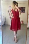 Fırfır Yaka Kuşaklı Şifon Elbise - KIRMIZI