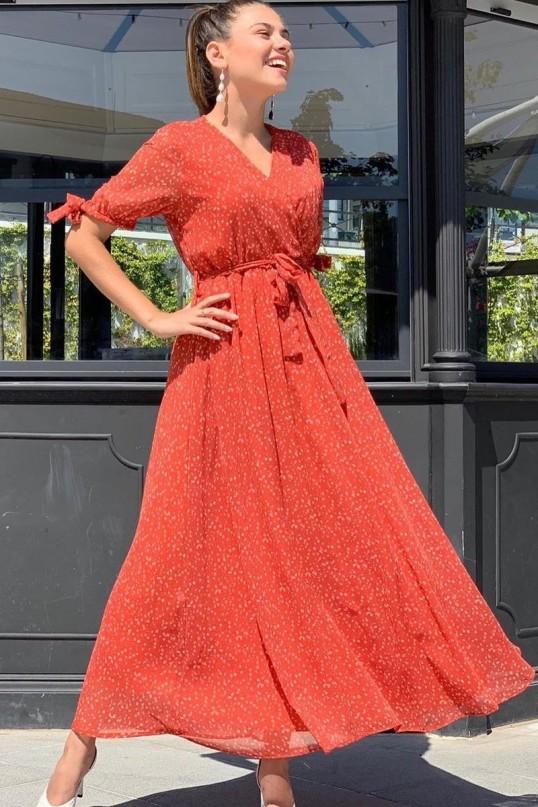 Kısa Kol Uzun Kiremit Yıldızlı Şifon Elbise