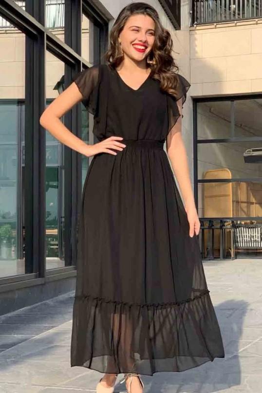 Omuz Fırfırlı Uzun Siyah Şifon Elbise