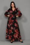 Uzun Nar Çiçeği Şifon Elbise -SİYAH