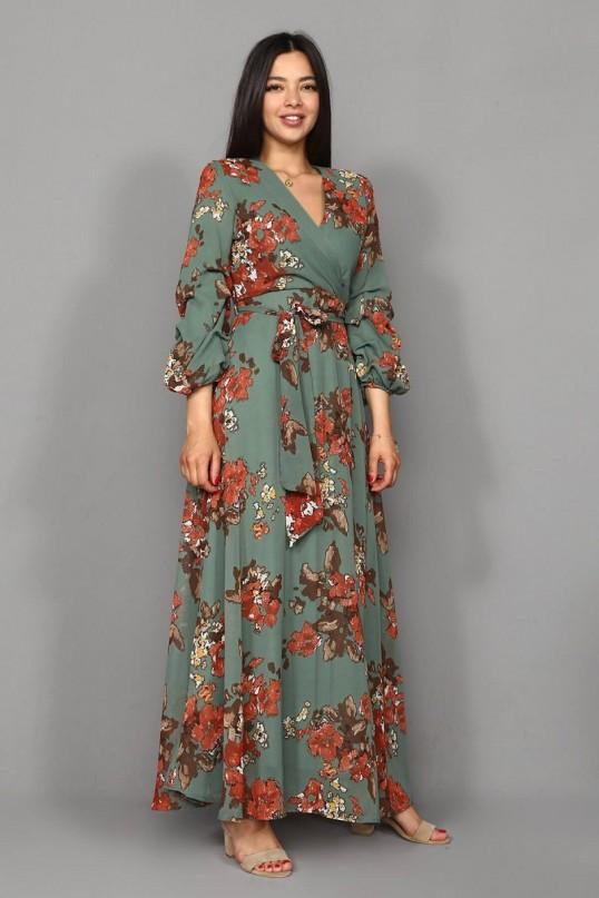 Uzun Nar Çiçeği Şifon Elbise -HAKİ
