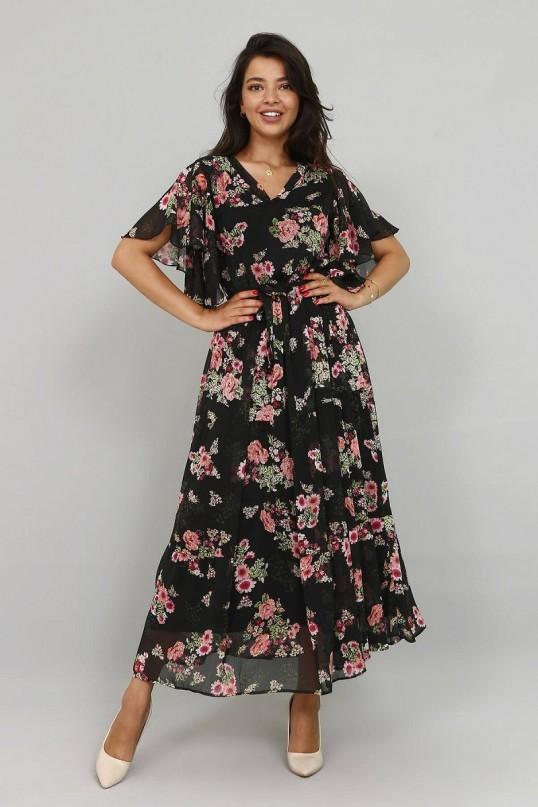 Kolları Fırfırlı Çiçekli Şifon Elbise - SİYAH