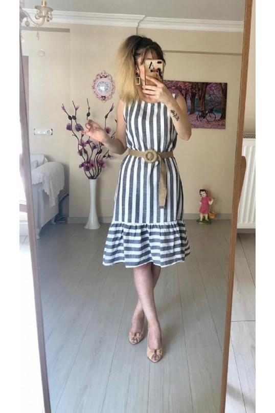 Kısa Keten Çizgili Elbise -GRİ