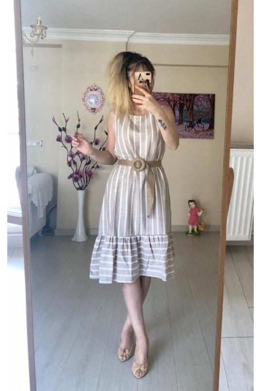 Kısa Keten Çizgili Elbise -KAHVE
