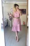 Kısa Keten Çizgili Elbise -PEMBE