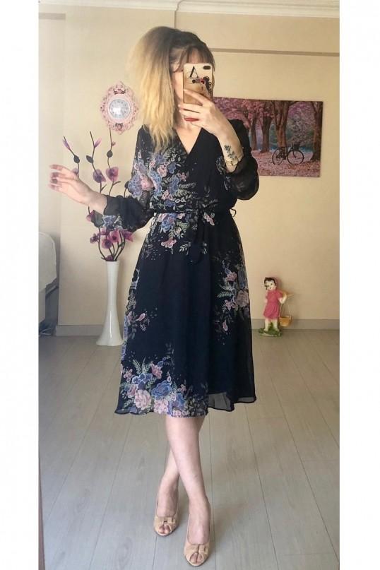 Kısa Sarı çiçekli Şifon Elbise -LACİVERT