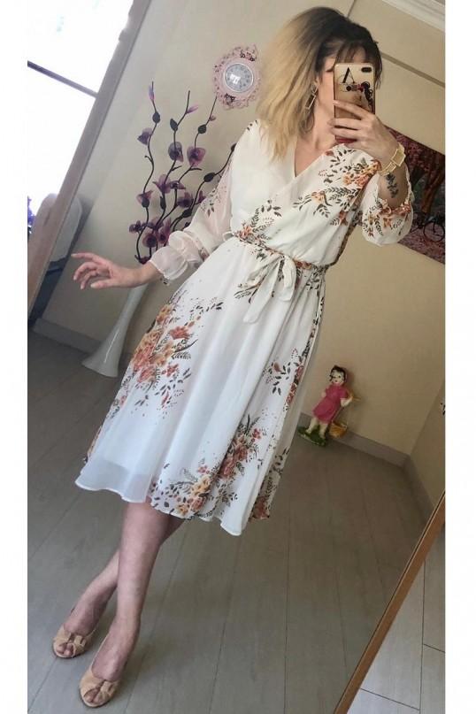 Kısa Sarı çiçekli Şifon Elbise -BEYAZ