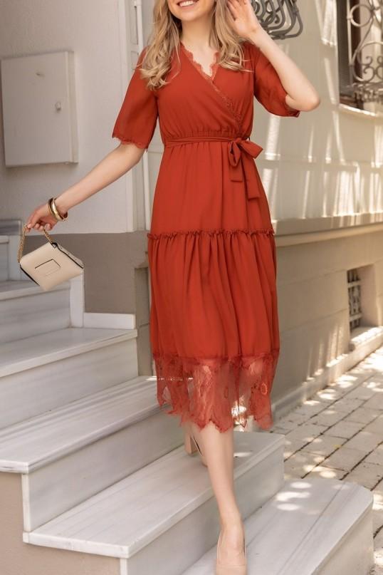 Etek Ucu Güpürlü Elbise - KİREMİT