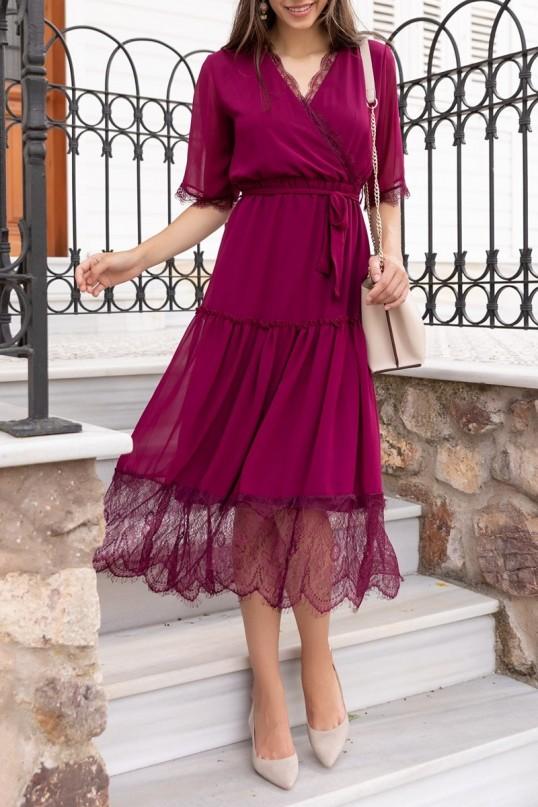 Etek Ucu Güpürlü Elbise - MÜRDÜM